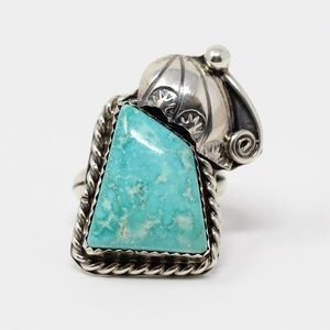 Jewelry - NAVAJO Sterling Silver Ornate Turquoise Ring 5